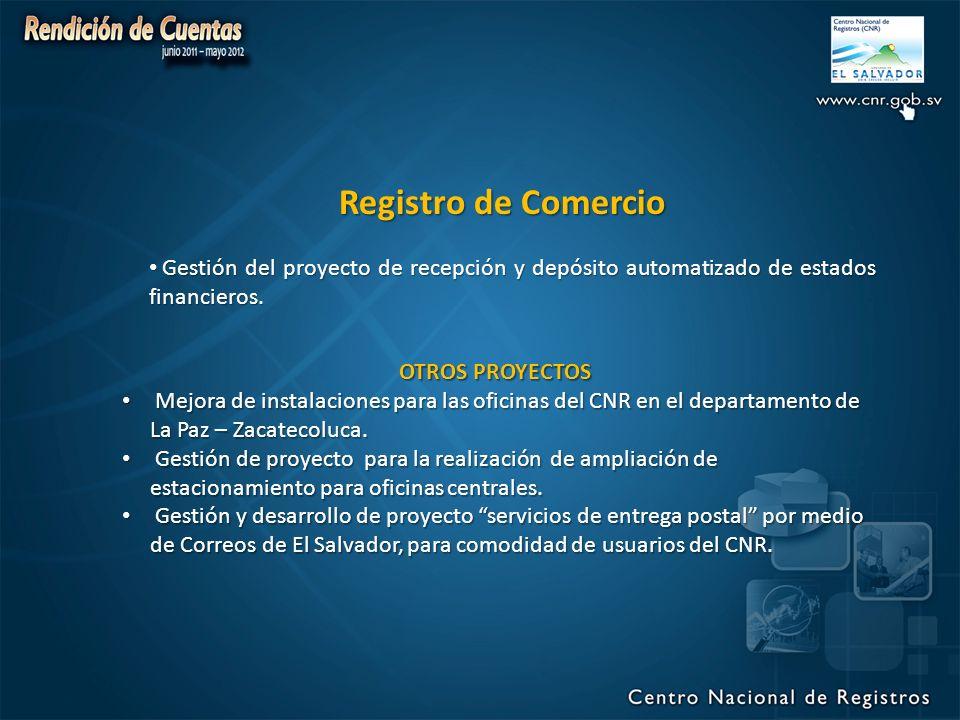 Registro de Comercio Gestión del proyecto de recepción y depósito automatizado de estados financieros.