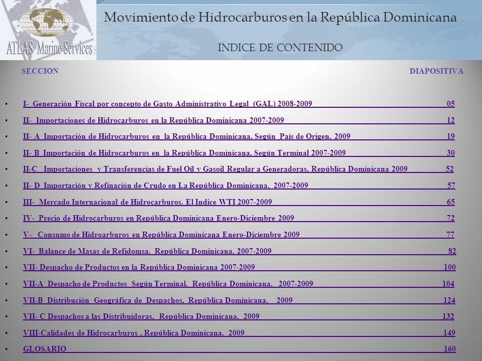 Movimiento de Hidrocarburos en la República Dominicana INDICE DE CONTENIDO