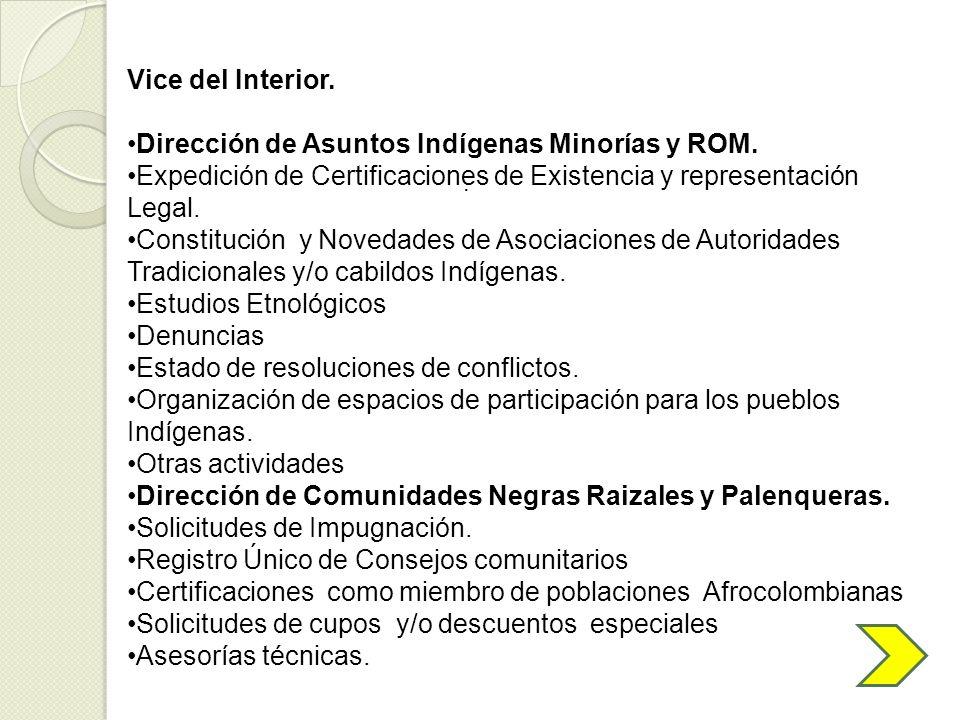 Dirección de Asuntos Indígenas Minorías y ROM.