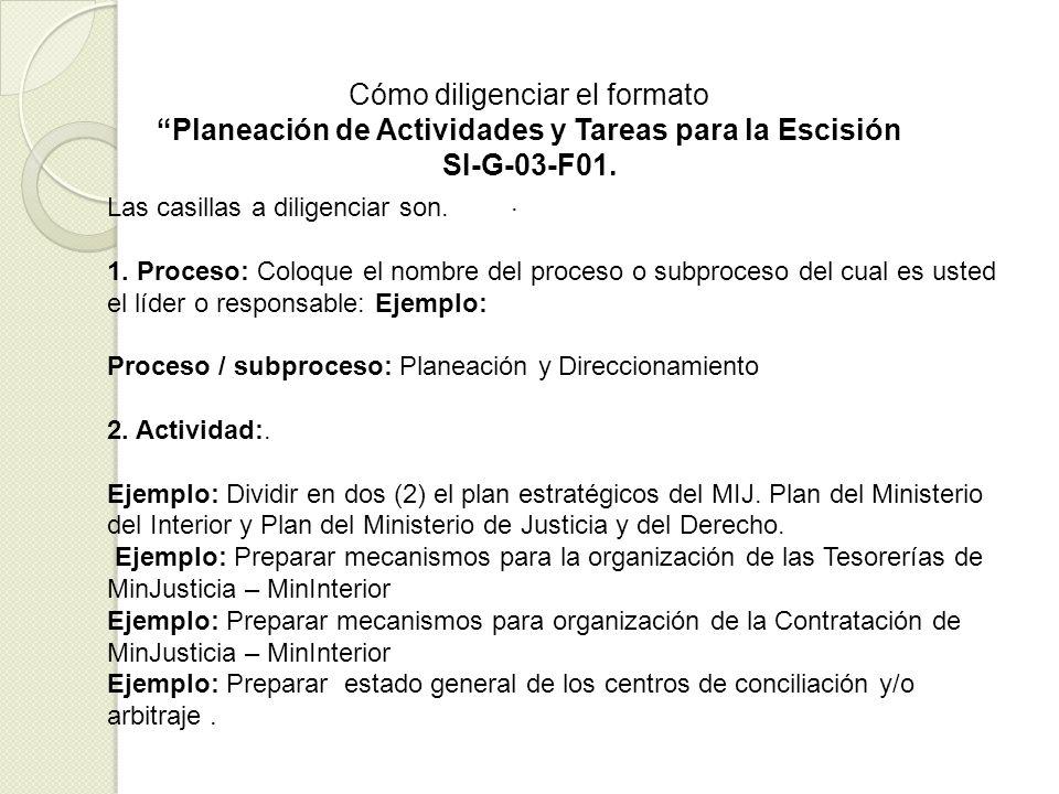 Planeación de Actividades y Tareas para la Escisión