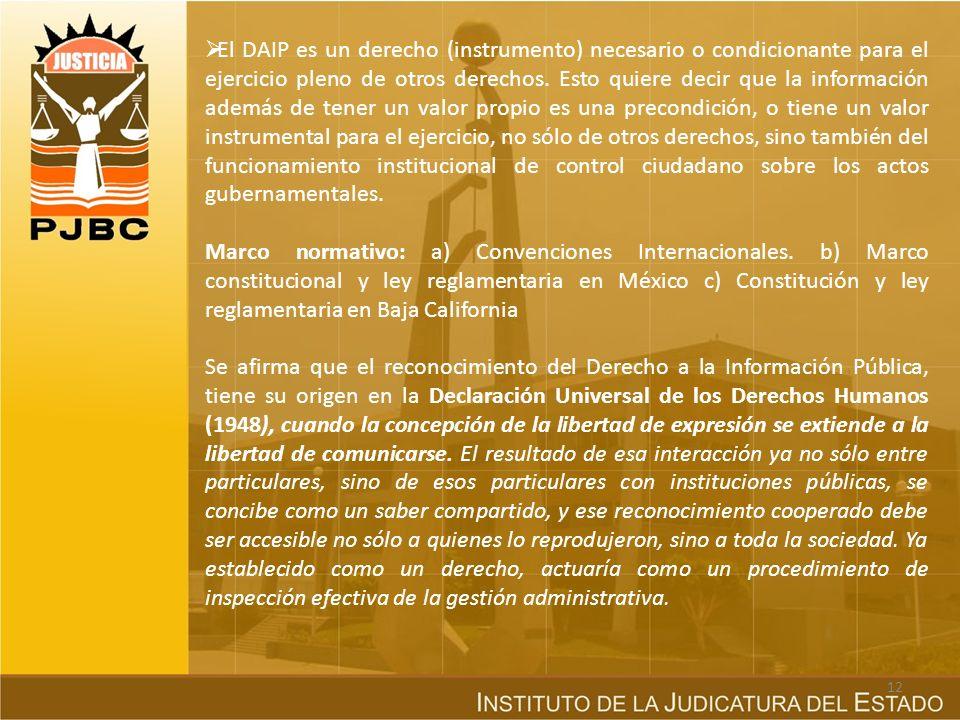 El DAIP es un derecho (instrumento) necesario o condicionante para el ejercicio pleno de otros derechos. Esto quiere decir que la información además de tener un valor propio es una precondición, o tiene un valor instrumental para el ejercicio, no sólo de otros derechos, sino también del funcionamiento institucional de control ciudadano sobre los actos gubernamentales.