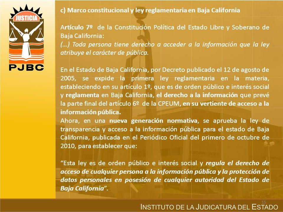 c) Marco constitucional y ley reglamentaria en Baja California