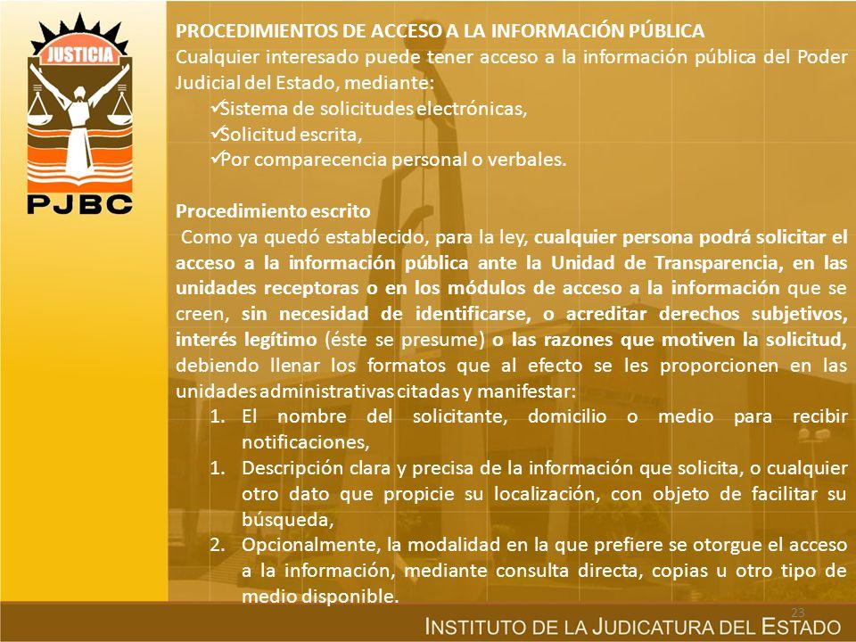 PROCEDIMIENTOS DE ACCESO A LA INFORMACIÓN PÚBLICA