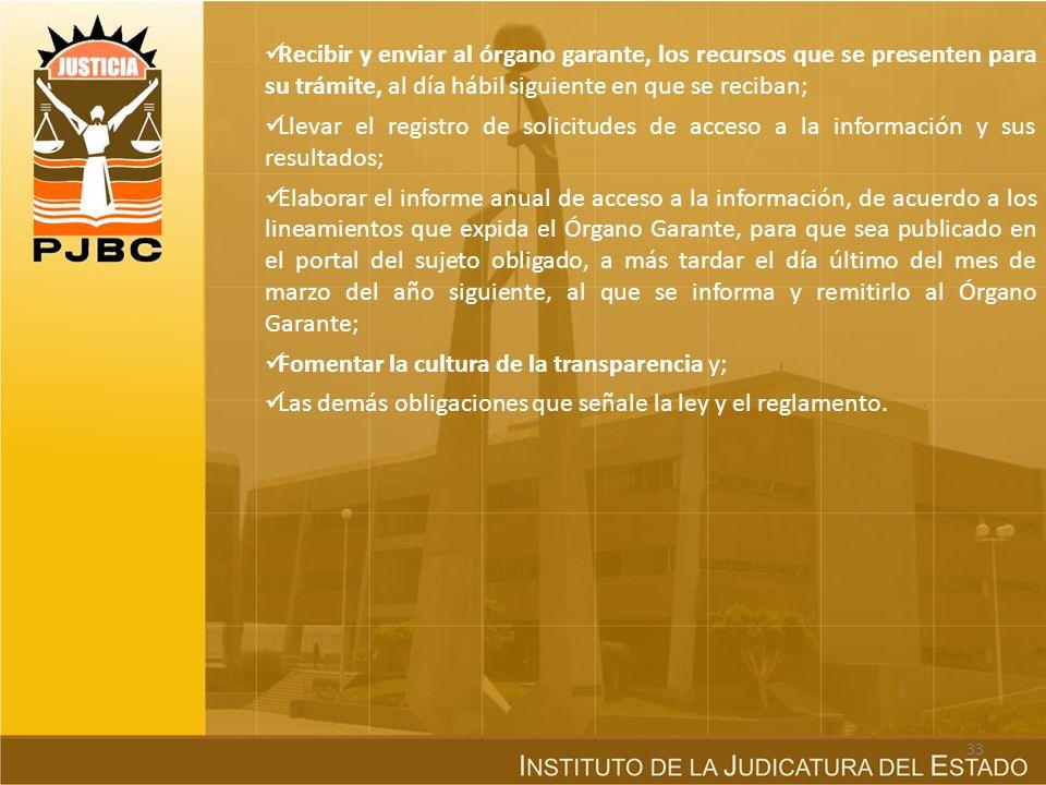 Recibir y enviar al órgano garante, los recursos que se presenten para su trámite, al día hábil siguiente en que se reciban;