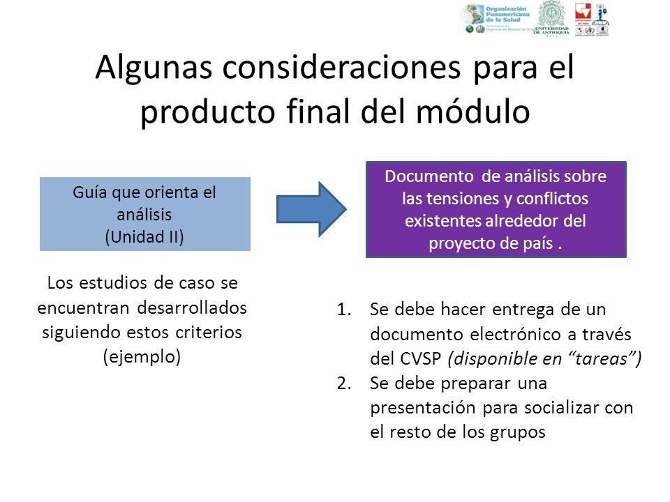 Algunas consideraciones para el producto final del módulo