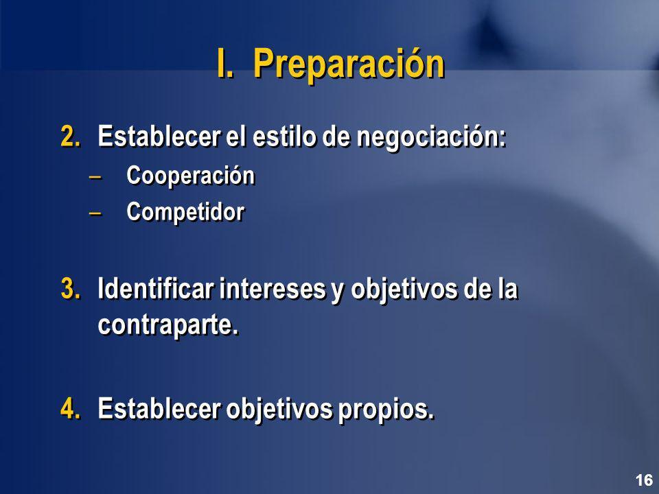 I. Preparación Establecer el estilo de negociación: