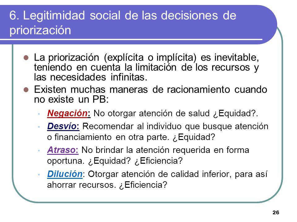 6. Legitimidad social de las decisiones de priorización