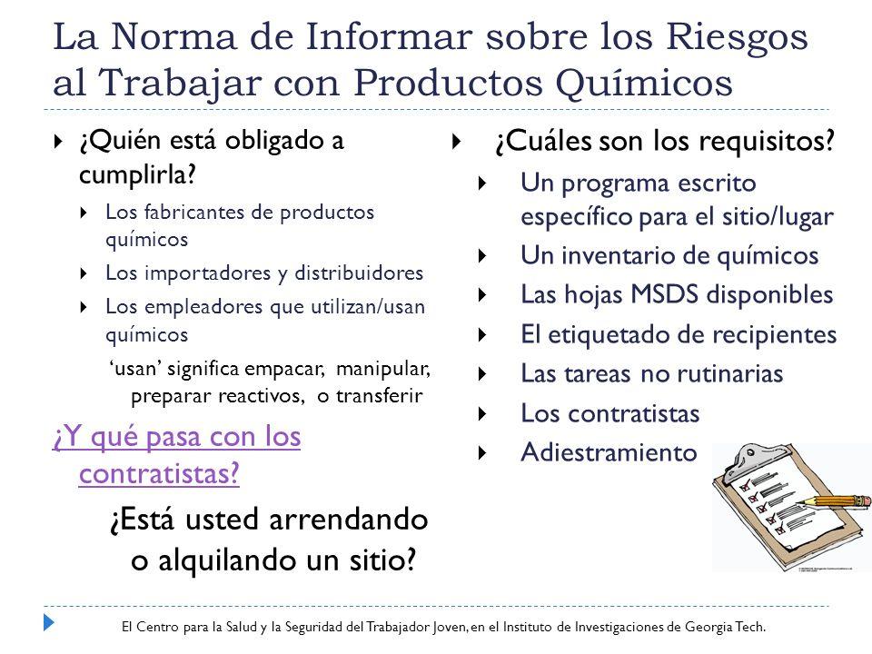 La Norma de Informar sobre los Riesgos al Trabajar con Productos Químicos