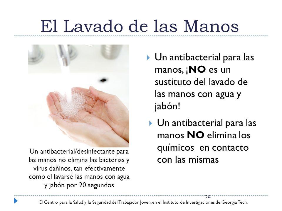 El Lavado de las Manos Un antibacterial para las manos, ¡NO es un sustituto del lavado de las manos con agua y jabón!