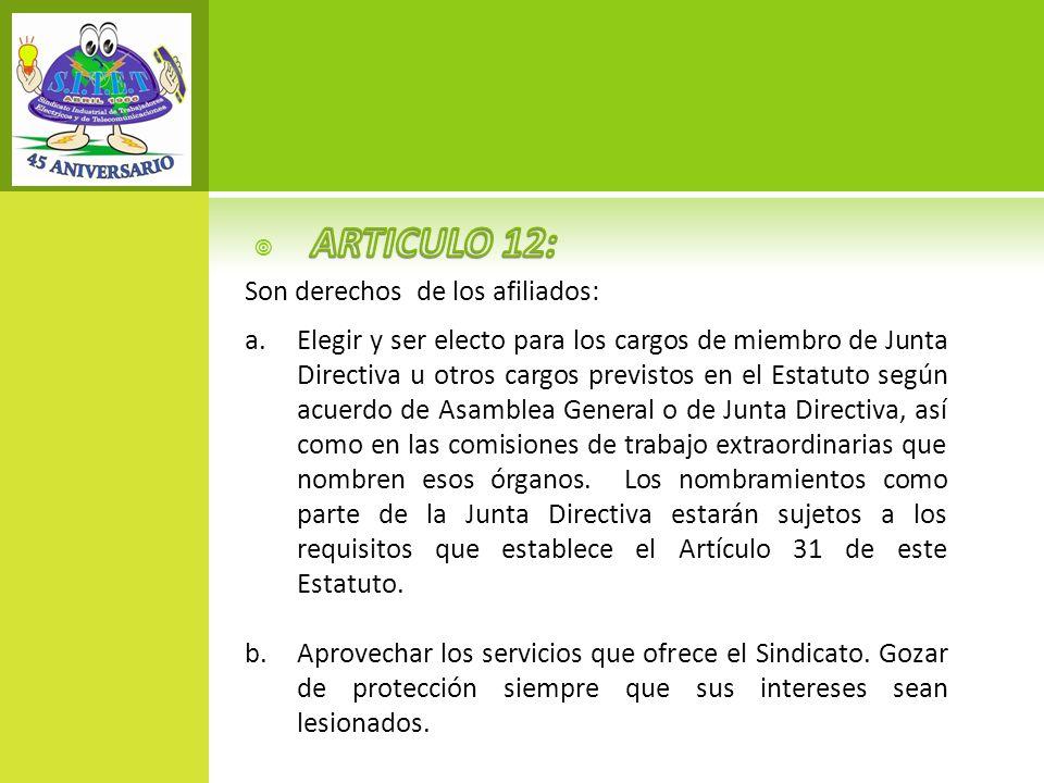 ARTICULO 12: Son derechos de los afiliados: