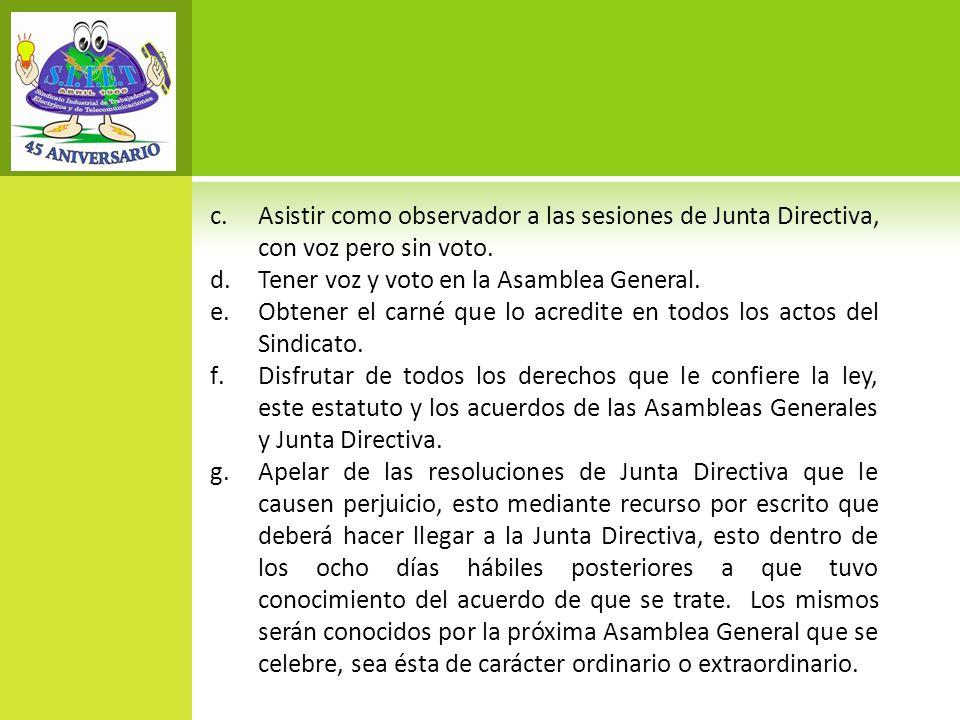 Asistir como observador a las sesiones de Junta Directiva, con voz pero sin voto.