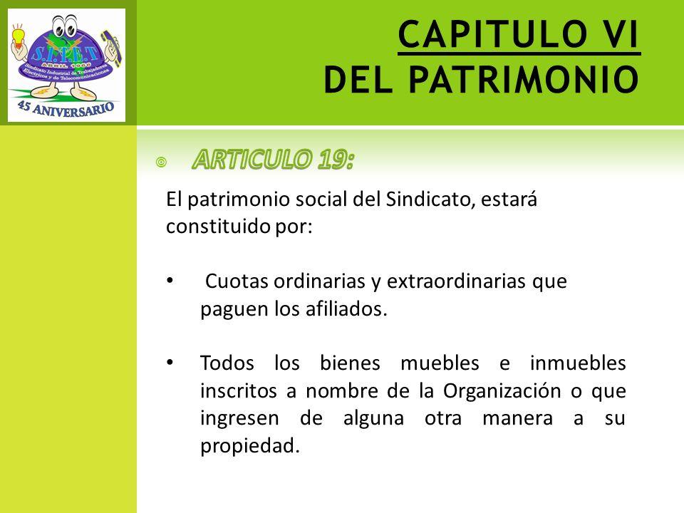 CAPITULO VI DEL PATRIMONIO