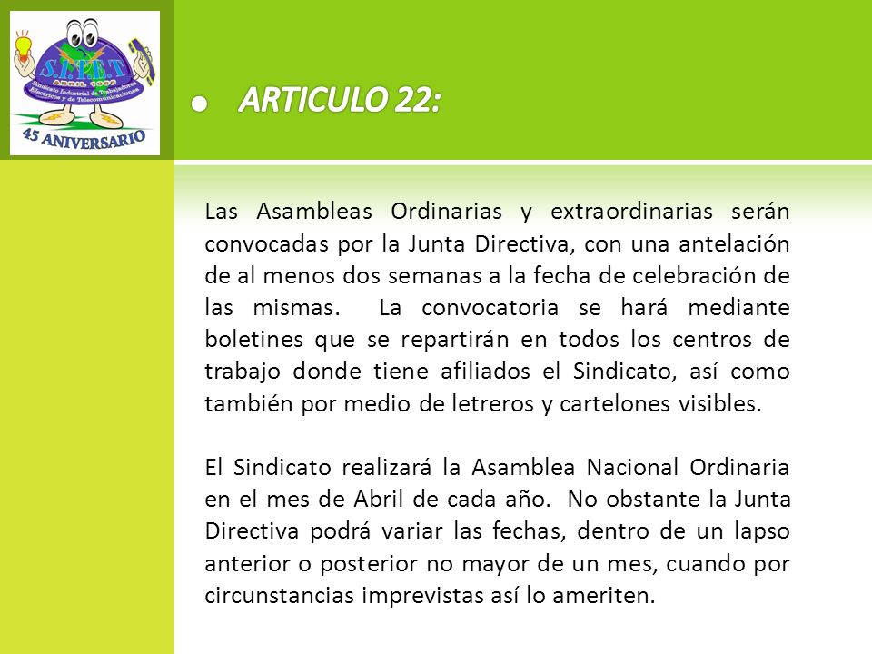 ARTICULO 22: