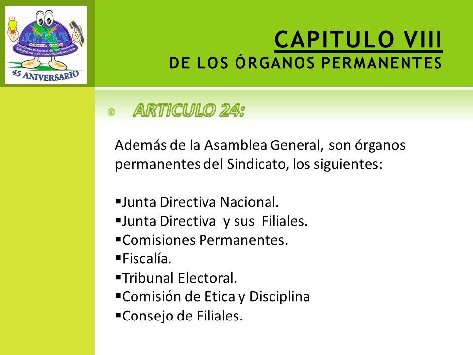 CAPITULO VIII DE LOS ÓRGANOS PERMANENTES