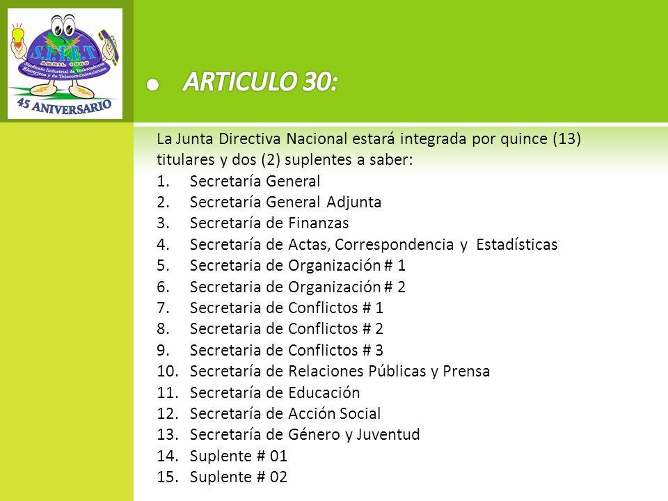 ARTICULO 30: La Junta Directiva Nacional estará integrada por quince (13) titulares y dos (2) suplentes a saber: