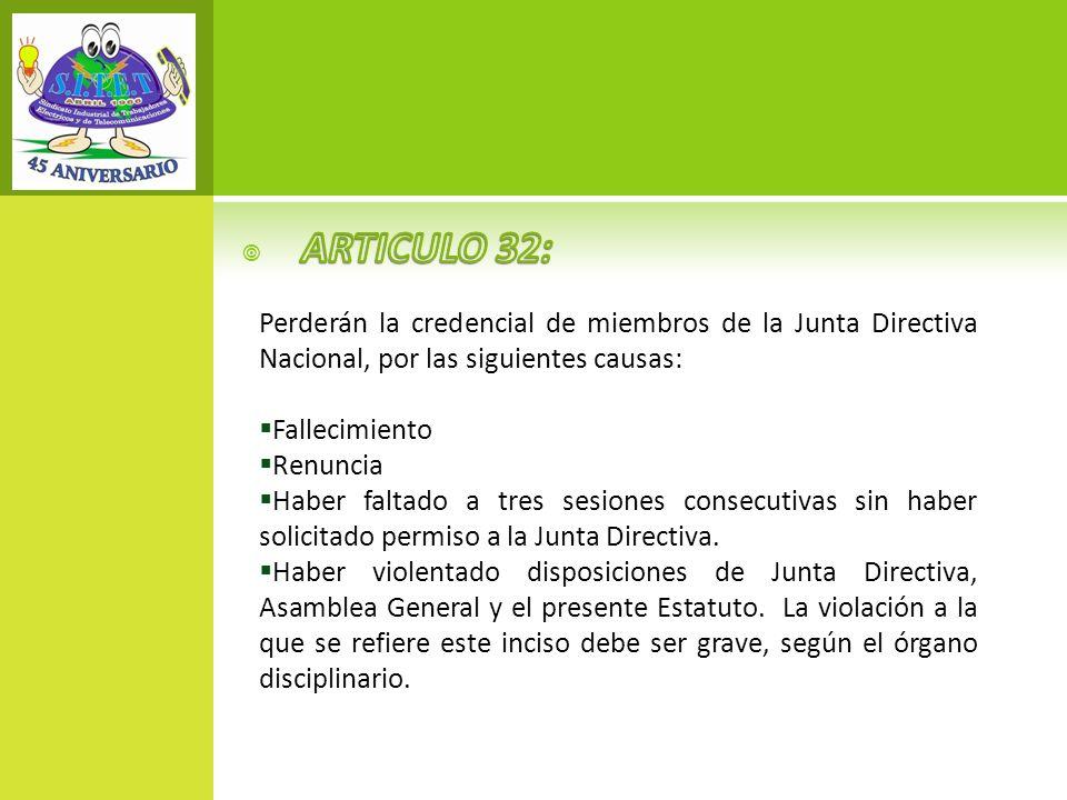 ARTICULO 32: Perderán la credencial de miembros de la Junta Directiva Nacional, por las siguientes causas: