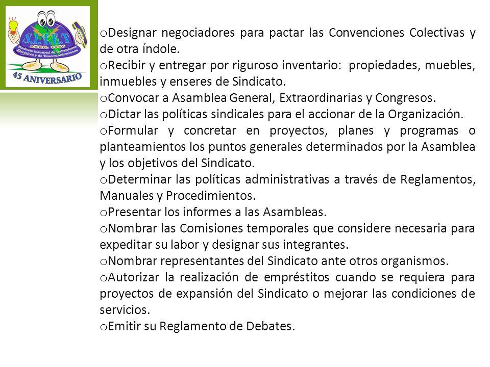 Designar negociadores para pactar las Convenciones Colectivas y de otra índole.