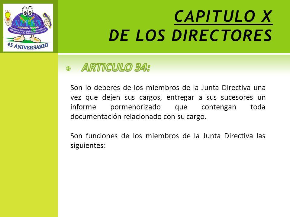 CAPITULO X DE LOS DIRECTORES