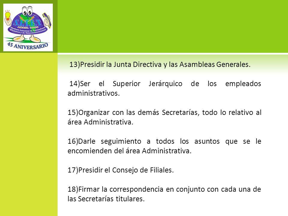 13)Presidir la Junta Directiva y las Asambleas Generales.