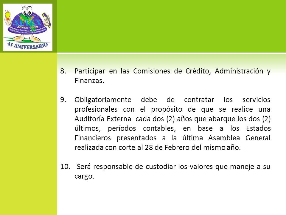 Participar en las Comisiones de Crédito, Administración y Finanzas.