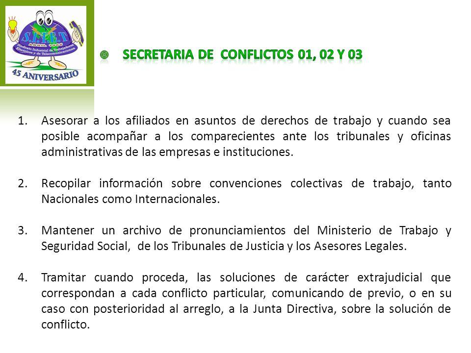 SECRETARIA DE CONFLICTOS 01, 02 Y 03