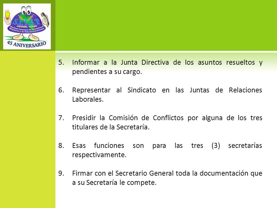 Informar a la Junta Directiva de los asuntos resueltos y pendientes a su cargo.