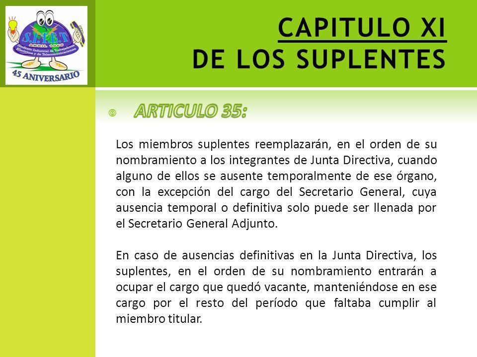 CAPITULO XI DE LOS SUPLENTES