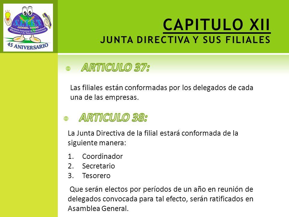 CAPITULO XII JUNTA DIRECTIVA Y SUS FILIALES