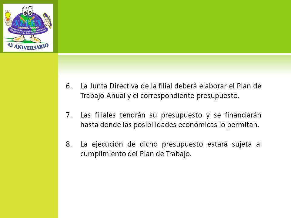 La Junta Directiva de la filial deberá elaborar el Plan de Trabajo Anual y el correspondiente presupuesto.
