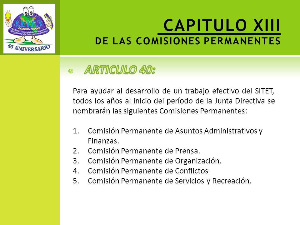 CAPITULO XIII DE LAS COMISIONES PERMANENTES