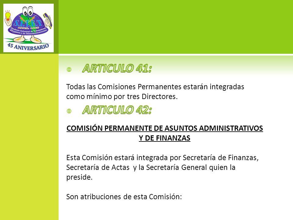 COMISIÓN PERMANENTE DE ASUNTOS ADMINISTRATIVOS Y DE FINANZAS