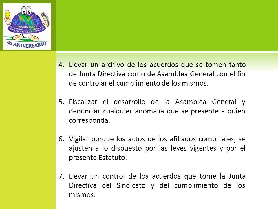 Llevar un archivo de los acuerdos que se tomen tanto de Junta Directiva como de Asamblea General con el fin de controlar el cumplimiento de los mismos.