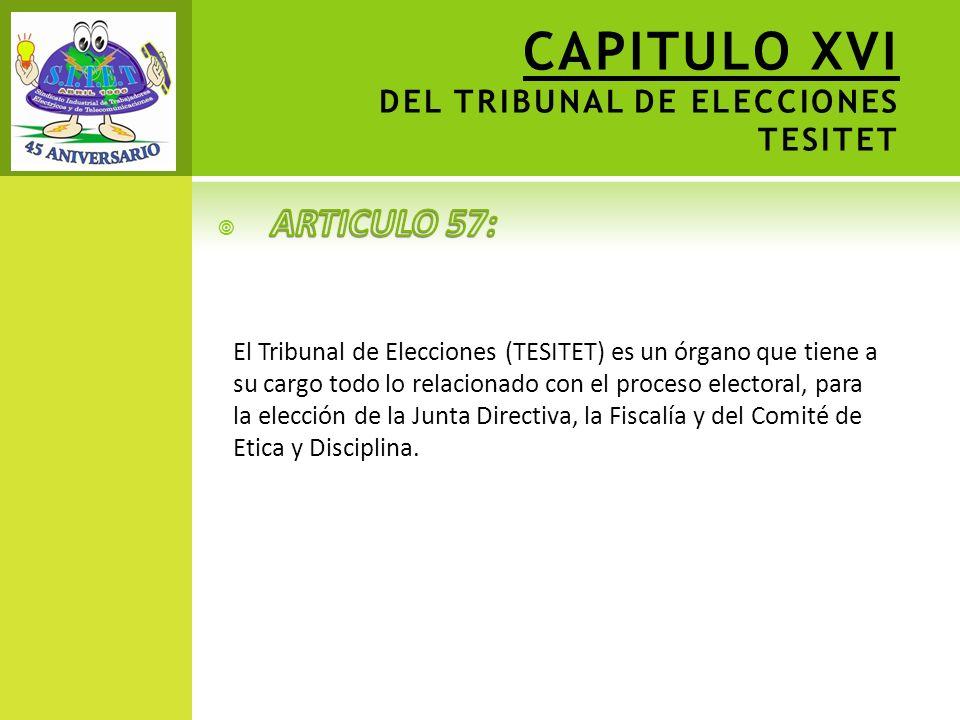 CAPITULO XVI DEL TRIBUNAL DE ELECCIONES TESITET