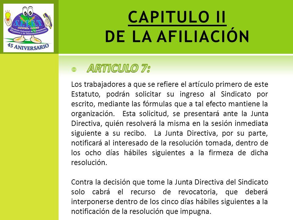 CAPITULO II DE LA AFILIACIÓN
