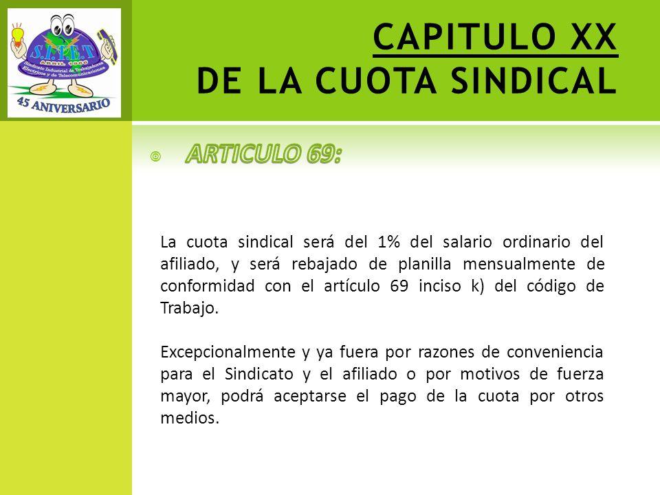 CAPITULO XX DE LA CUOTA SINDICAL