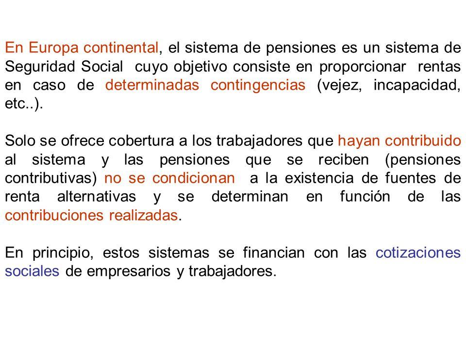 En Europa continental, el sistema de pensiones es un sistema de Seguridad Social cuyo objetivo consiste en proporcionar rentas en caso de determinadas contingencias (vejez, incapacidad, etc..).