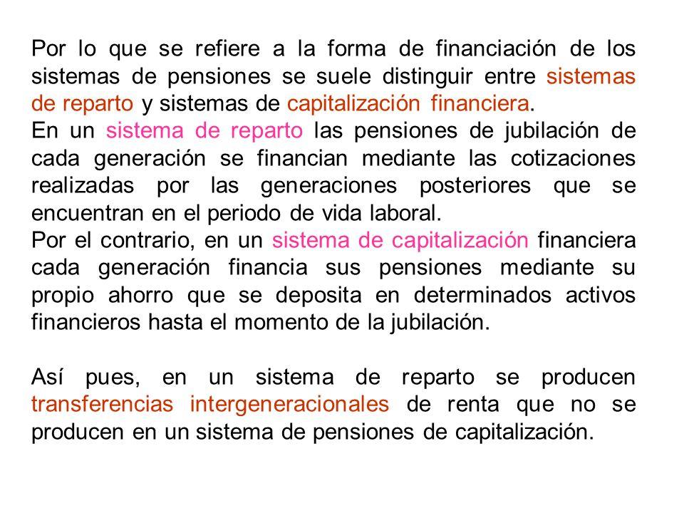 Por lo que se refiere a la forma de financiación de los sistemas de pensiones se suele distinguir entre sistemas de reparto y sistemas de capitalización financiera.