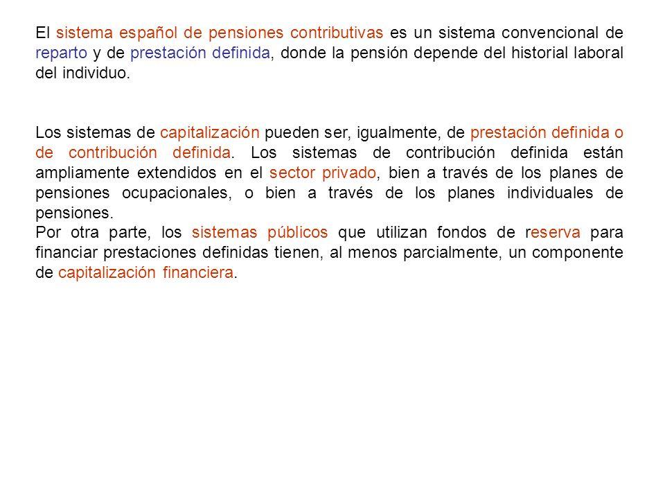 El sistema español de pensiones contributivas es un sistema convencional de reparto y de prestación definida, donde la pensión depende del historial laboral del individuo.