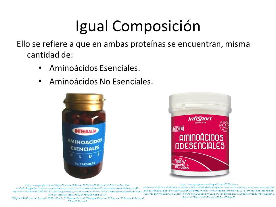 Igual Composición Ello se refiere a que en ambas proteínas se encuentran, misma cantidad de: Aminoácidos Esenciales.