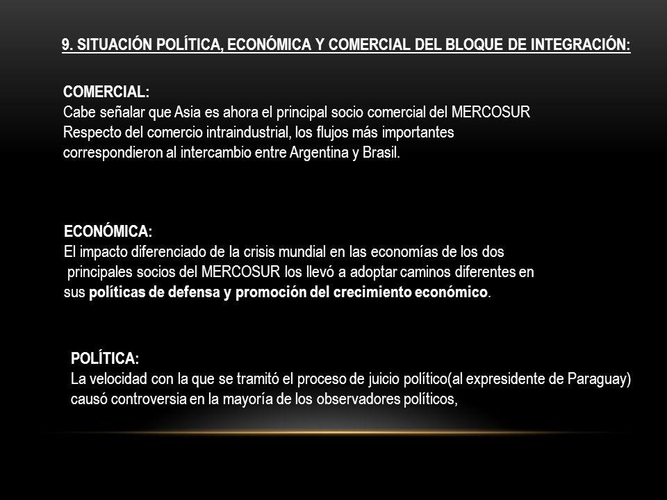 9. Situación política, económica y comercial del Bloque de Integración: