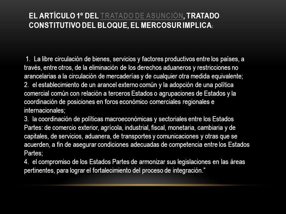 el artículo 1º del Tratado de Asunción, tratado constitutivo del bloque, el MERCOSUR implica: