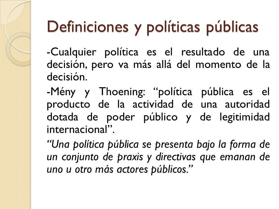 Definiciones y políticas públicas