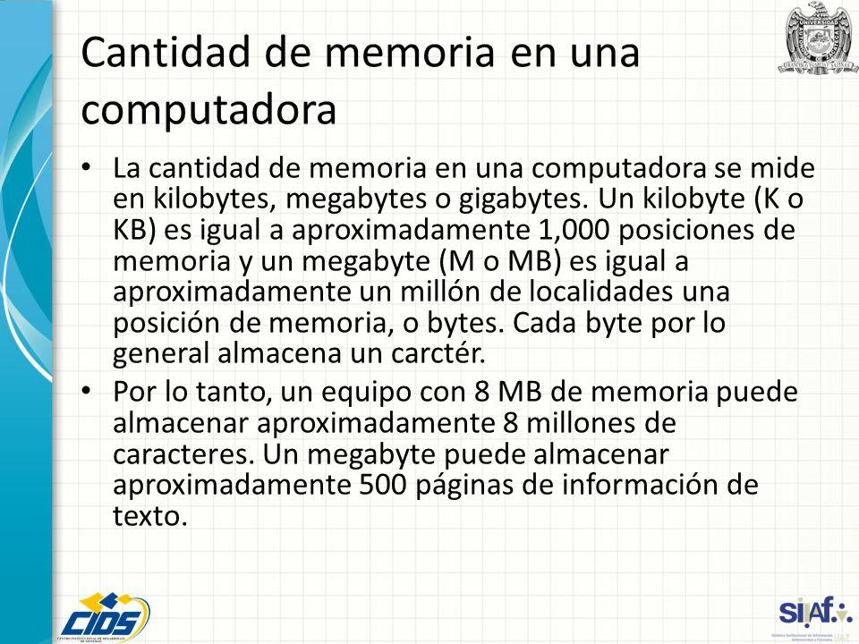 Cantidad de memoria en una computadora