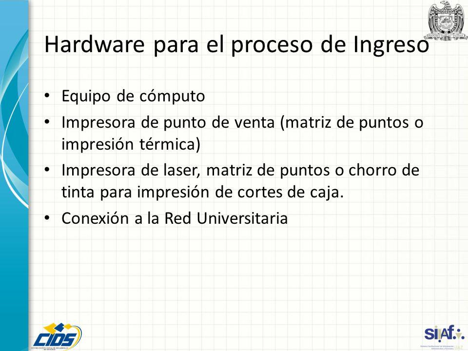 Hardware para el proceso de Ingreso