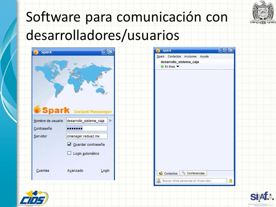 Software para comunicación con desarrolladores/usuarios