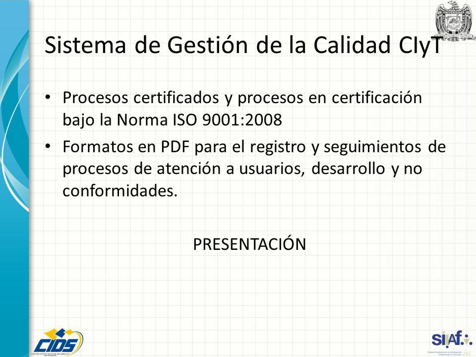 Sistema de Gestión de la Calidad CIyT