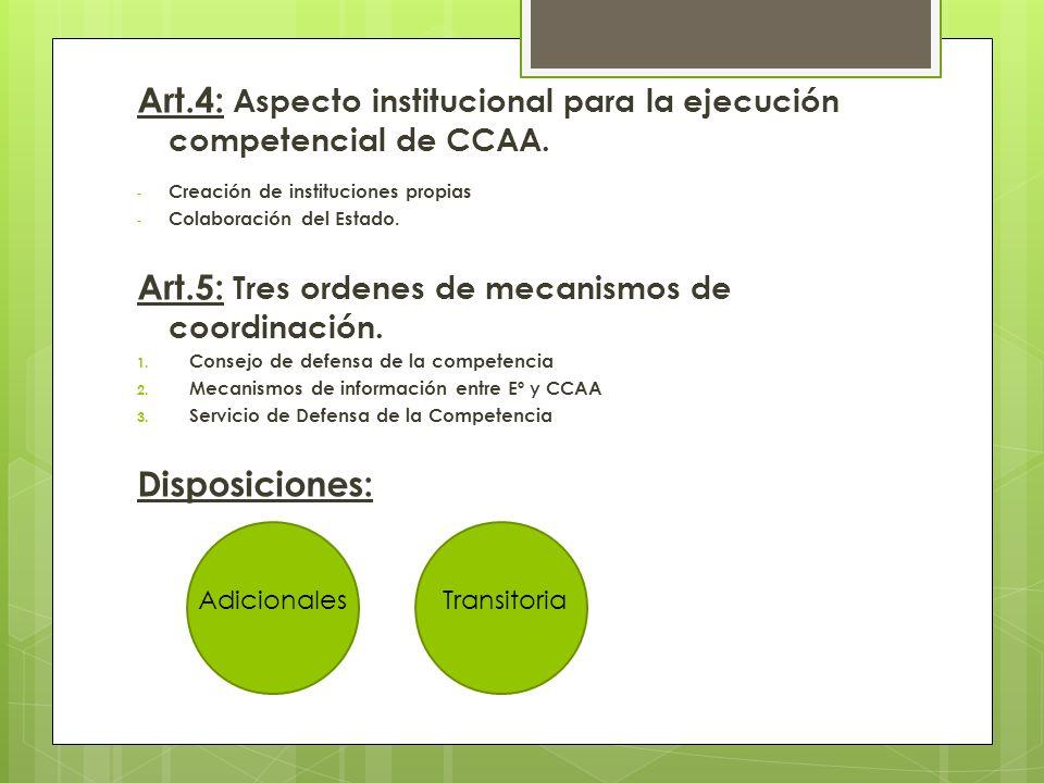 Art.4: Aspecto institucional para la ejecución competencial de CCAA.