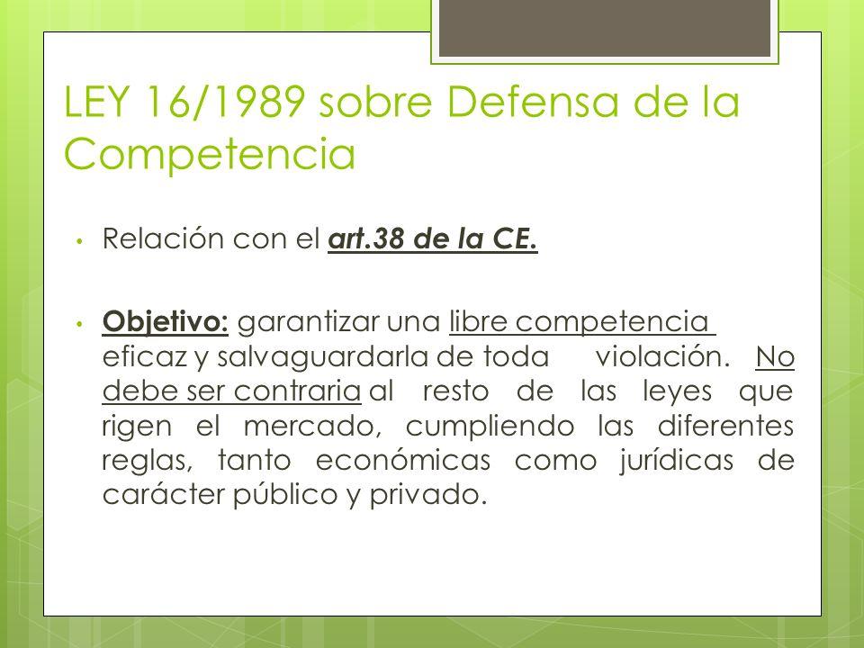 LEY 16/1989 sobre Defensa de la Competencia