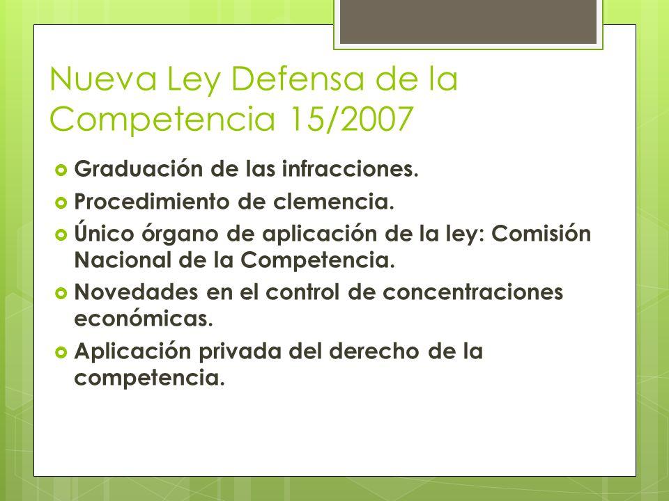 Nueva Ley Defensa de la Competencia 15/2007