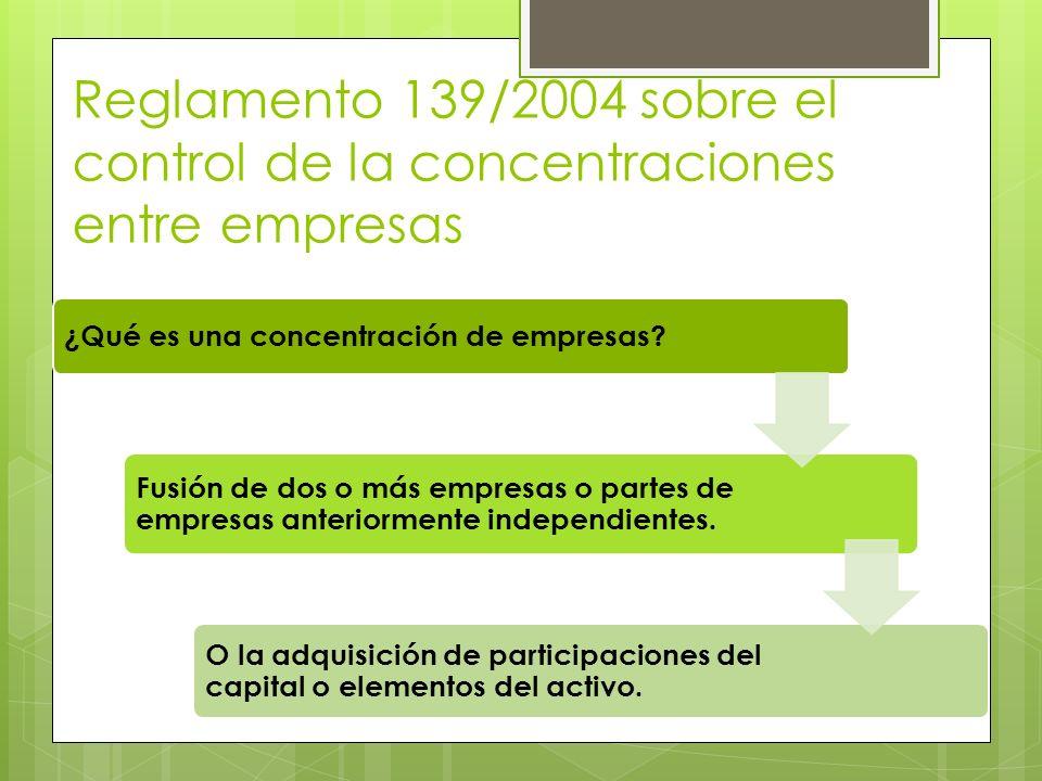 Reglamento 139/2004 sobre el control de la concentraciones entre empresas